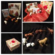"This animal gift pack will be loved by a set of multi-aged siblings. With a realistically illustrated book about animals from an Islamic perspective, a set of ""Animals from the Quran snap cards"" and 6 realistic looking animal figurines, this set will work for a family with ages that range between 18 months - 8 years old. It is already packed and ready to go - only one available! Price: $32.50"