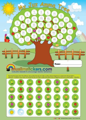 Children can place this chart in their room or on the fridge and keep track of the surah's form juz amma they have memorized. This chart (which comes with 40 stickers) is a full-sized version of the juz amma bookmark in the gift pack. Price: $7.50