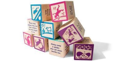 A beautiful literacy treasure available in 9 block set ($16.50) or 28 block set ($42.50). Each block features a different nursery rhyme with illustrations on 2 sides and the rhymes on the other 4 sides. Price: $16.50 (small) and $42.50 (large)