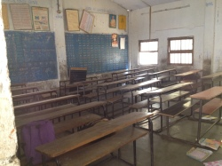 A classroom for an older elementary grade (younger children often sit on the floor)