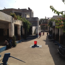 A view of the length of the school, capturing entrance