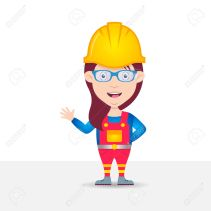 Colorful vector female construction worker cartoon character